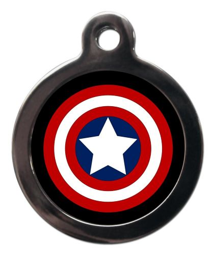 Pet ID Tag  Captain America Shield Logo Personalised tag